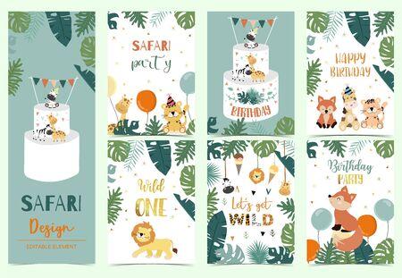 Green, gold animal collection of safari background set