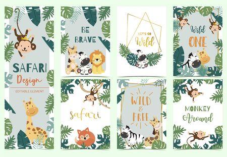 Green collection of safari background set ,vector illustration