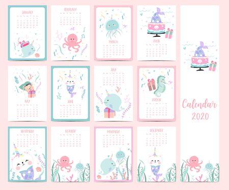 Doodle pastel animal calendar set 2020 with mermaid