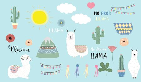 Cute animal object collection with llama, Animal vector illustration set
