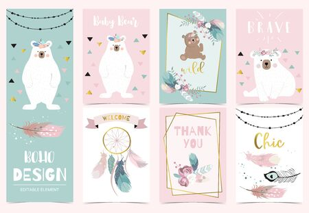 Collection of boho cards set with feather, dreamcatcher, bear. Vector illustration for birthday invitation, postcard and sticker. Editable element Иллюстрация