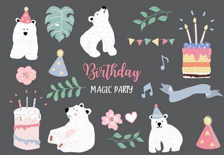 pastel birthday set with bear, cake, leave, flower illustration