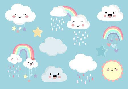 Pastel rainbow set with cloud, sun, star, heart illustration for sticker, postcard, birthday invitation. Editable element Çizim