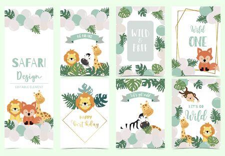 Green, gold animal collection of safari background set, Animal vector illustration set
