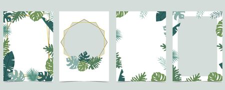 Collection of leaf background set with gold geometric, leaves, wreath. Vector illustration for invitation, postcard and logo. Editable element