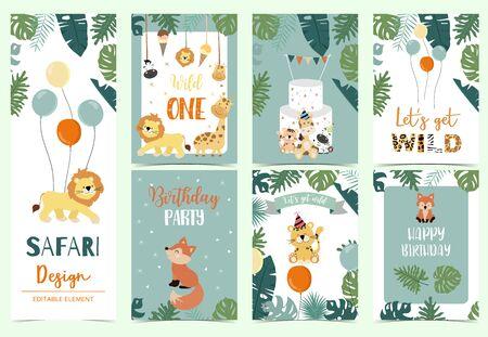 Green animal collection of safari background set with lion, fox, giraffe, zebra, balloon vector illustration