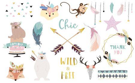 Bohemian animal object set with bear, dreamcatcher, feather, arrow, fox. Animal vector illustration set Иллюстрация