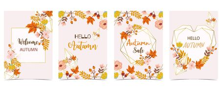 Collection of autumn background set with gold geometric, leaves, flower, wreath. Animal vector illustration set