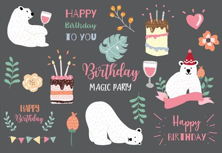 pastel birthday set with bear, cake, leave, flower, heart illustration