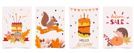 Collection of autumn background set with cake, leaves, pumpkin, squirrel. Vector illustration for invitation, postcard and sticker. Editable element Çizim