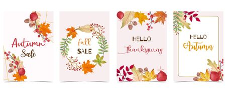Collection of autumn background set with gold geometric, leaves, flower, wreath. Vector illustration for invitation, postcard and sticker. Editable element Çizim