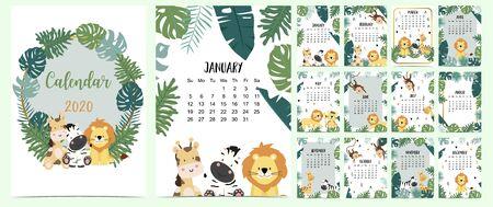 Doodle animal calendar set 2020 with gold geometric, Animal vector illustration set Çizim