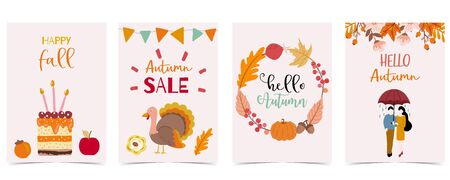 Collection of autumn background set with woman, leaves, pumpkin, wreath. Vector illustration for invitation, postcard and sticker. Editable element Çizim