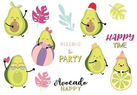 Collection of green avocado card set with leaf, avocado christmas. Happy time