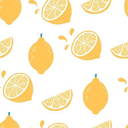 Cute lemon background. Vector illustration seamless pattern for background, wallpaper