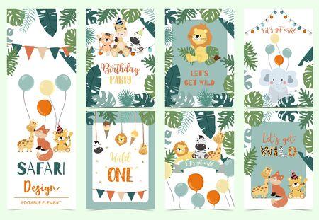 Green animal collection of safari background, Animal vector illustration set