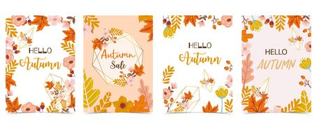 Collection of autumn background set