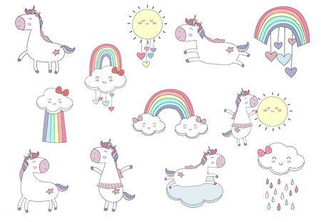 pastel animal unicorn set with unicorn Çizim