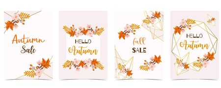 Collection of autumn background set with gold geometric, leaves, flower, wreath. Vector illustration Archivio Fotografico - 129843857