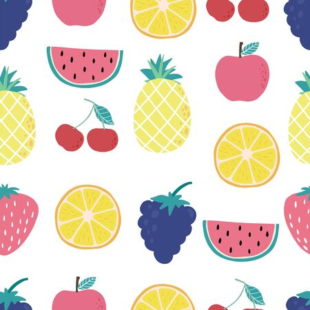Cute fruit background with lemon, cherry, apple, watermelon, grape. Vector illustration