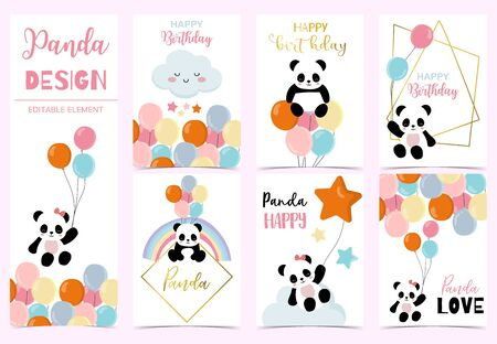 Collection of birthday background set with panda, rainbow, balloon. Editable vector illustration for birthday invitation, postcard and sticker. Wording include hello Çizim