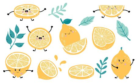 Cute lemon, citrus object collection. Whole, cut in half, sliced on pieces lemons. Vector illustration for icon, sticker, printable