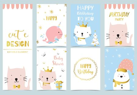 Cute kid background with whale, cat, gift, bear, christmas tree for birthday invitation