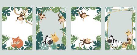 Green animal collection of safari frame set with lion, fox, giraffe, zebra, monkey vector illustration for birthday invitation, postcard, logo and sticker