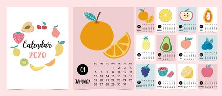 Doodle fruit calendar set 2020, Can be used for printable graphic. Editable element