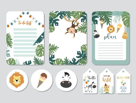 Pastel printable with fox, giraffe, zebra, lion, ice cream in safari style. with wording wild and free, birthday, party
