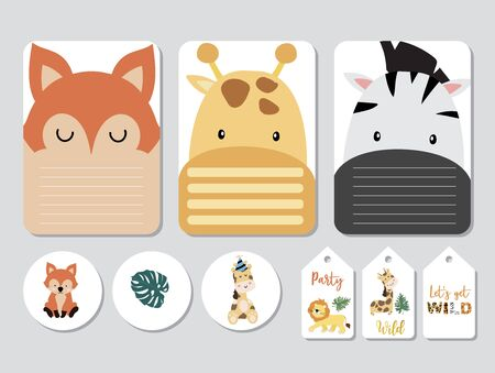 Pastel printable with fox, giraffe, zebra, lion in safari style.with wording wild and free, birthday, party