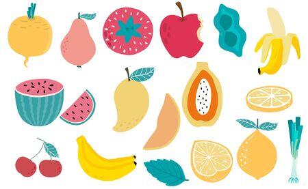 Cute fresh fruit object collection with cherry, spring onion, banana, apple, mango, papaya illustration for icon, logo, sticker, printable