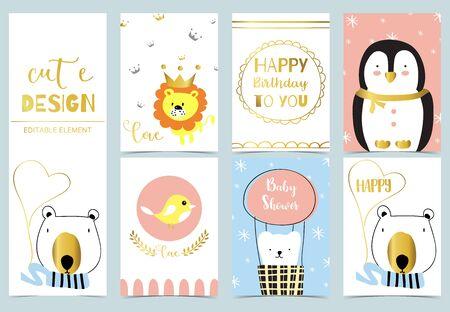 Cute kid background with penguin, lion, bird, bear, christmas tree for birthday invitation