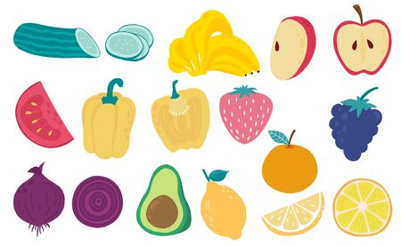 Cute fresh fruit object collection with yellow pepper, tomato, banana, apple, onion, avocado illustration