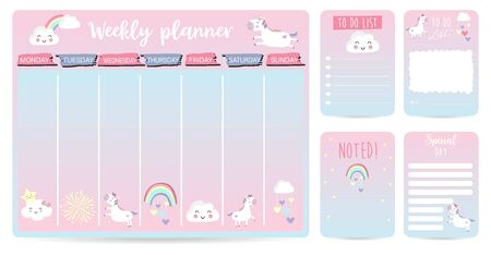 cute weekly planner background for kid with unicorn, rainbow, cloud
