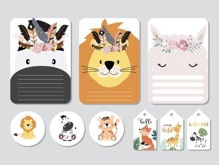 Pastel printable with fox, giraffe, zebra, lion, llama in safari style. with wording sapce