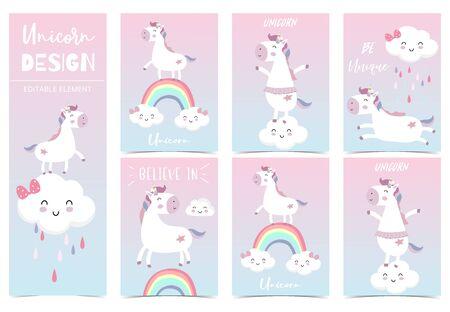 Cute kid background with unicorn, rainbow, pink, cloud for birthday invitation