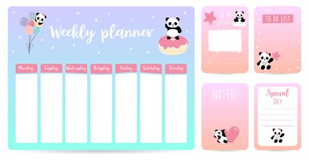 cute weekly planner background for kid with panda, star, heart