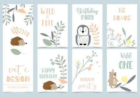 Cute kid background with jungle, wild, hedgehog ,bear, penguin for birthday invitation