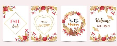 Collection of autumn background set with leaves, maple, acorn, frame. Editable vector illustration for birthday invitation, postcard and website banner