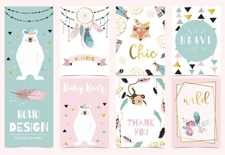 Collection of boho cards set with fox, monkey, dreamcatcher, bear. Vector illustration