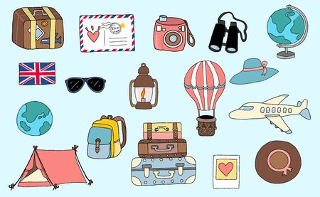 Cute travel collection with luggage, plane, world, balloon, camera, airmail illustration for icon, logo, sticker, printable