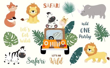 Safari object set with fox, giraffe, zebra, lion, leaves, car. illustration Çizim