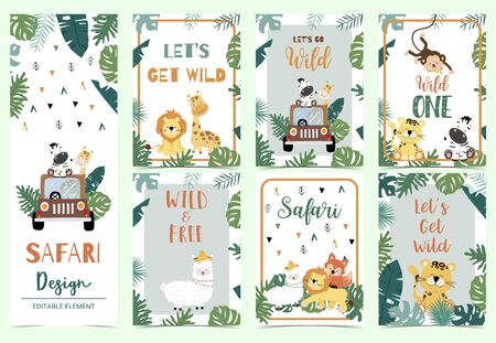 Green, gold collection of safari background set with lion, monkey, giraffe, zebra, geometric vector illustration Çizim