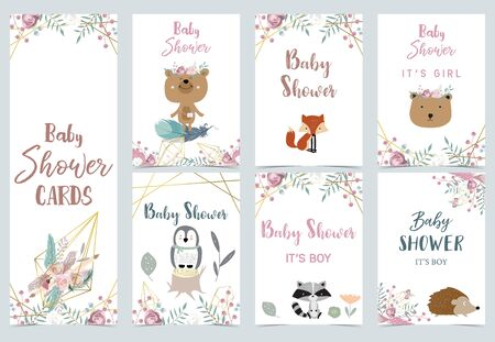 Collection of boho cards set with penguin, dreamcatcher, bear. Vector illustration
