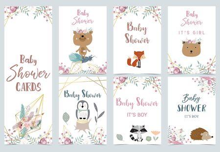 Collection of boho cards set with penguin, dreamcatcher, bear. Vector illustration Vector Illustration