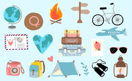 Cute travel collection with luggage, plane, world, sunglasses, camera, airmail illustration for icon, logo, sticker, printable Çizim