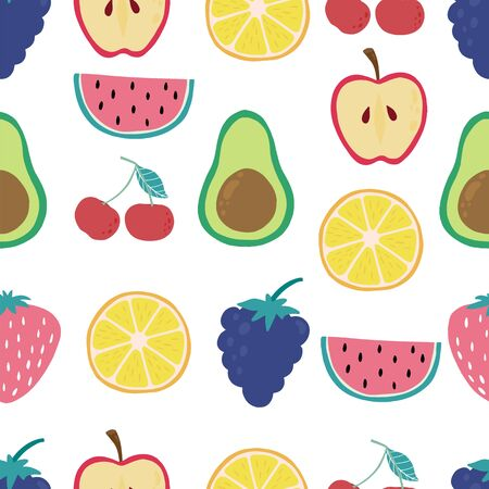 Cute fruit background with lemon, apple, cherry, grape, strawberry. Vector illustration seamless pattern for background, wallpaper, fabric Illustration