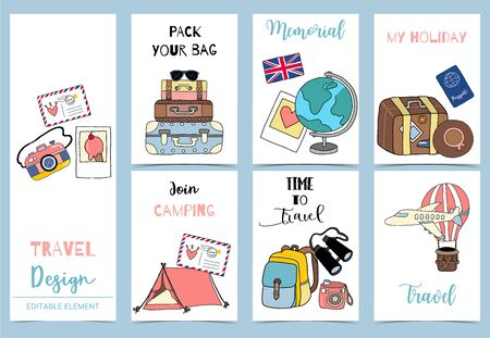 Collection of safari background set with tent, air mail balloon,  luggage, airplane. Editable vector illustration for birthday invitation, postcard and sticker