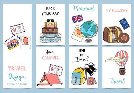 Sammlung von Safari-Hintergrund mit Zelt, Luftpostballon, Gepäck, Flugzeug. Bearbeitbare Vektorillustration für Geburtstagseinladung, Postkarte und Aufkleber Vektorgrafik